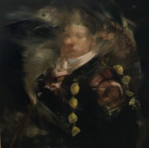 Sarah McRae Morton, Lemon Dart, 2021, Oil on panel, 10 x 10 inches