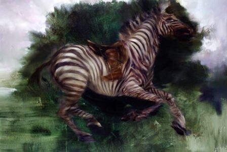Sarah McRae Morton, The Archer and the Last Green Quagga, 2020, Oil on linen, 48 x 72 inches