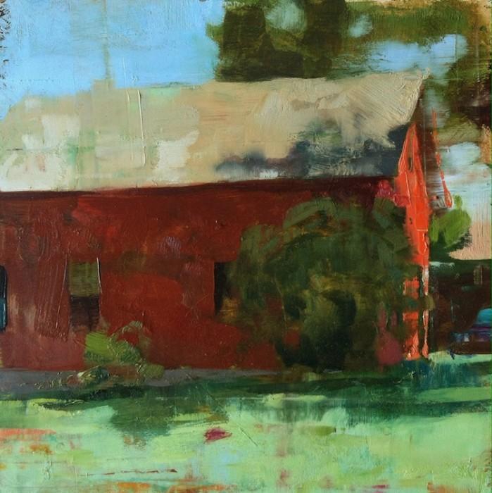 Jon Redmond, Apple House, 2015, oil on board, 10 x 10 inches