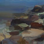 Christine Lafuente, Acadian Rocks, 2015, oil on linen, 12 x 16 inches