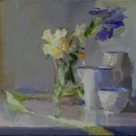 Christine Lafuente, Freesia, Iris, and Ribbon, 2015, oil on linen, 12 x 16 inches