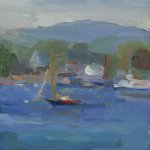 Christine Lafuente, Harbor with Black and Red Sailboat, 2015, oil on linen, 8 x 8 inches