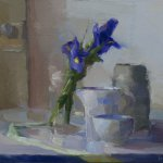 Christine Lafuente, Iris, Ribbon, and Old Door, 2015, oil on linen, 12 x 16 inches