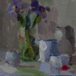 Christine Lafuente, Iris and Jars, 2015, oil on linen, 5 x 7 inches