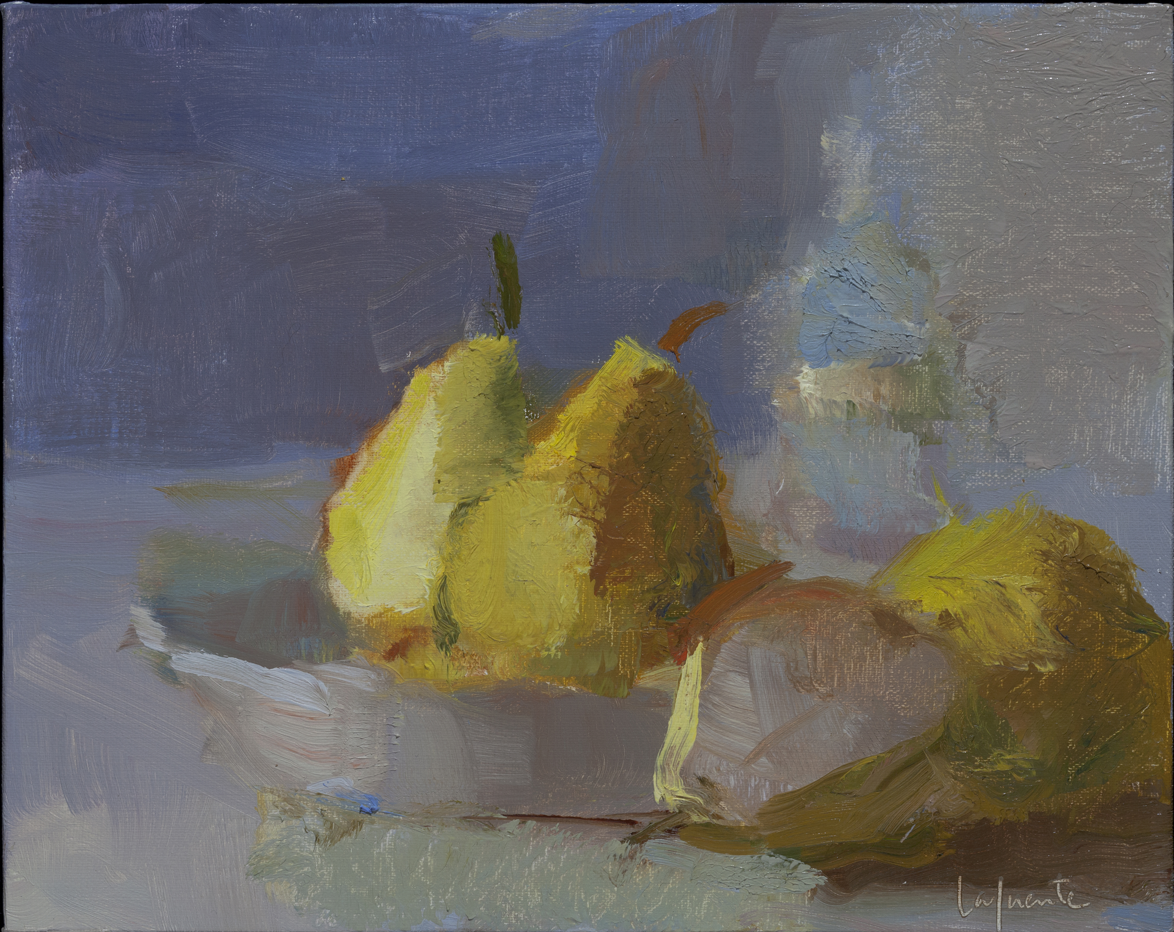 Christine Lafuente, Pears and Bottle, 2015, oil on linen, 8 x 10 inches