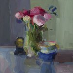 Christine Lafuente, Peonies, Teacups, and Clock, 2015, oil on linen, 16 x 16 inches