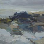 Christine Lafuente, Rising Tide, Fog and Rocks, 2015, oil on linen, 10 x 10 inches