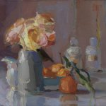 Christine Lafuente, Roses, Bottles, and Oranges, 2015, oil on linen, 11 x 14 inches
