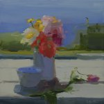 Christine Lafuente, Summer Bouquet with Daisies and Impatiens, 2015, oil on linen, 12 x 12 inches