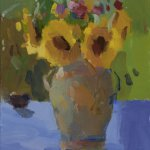Christine Lafuente, Sunflowers in an Urn, End of Summer, 2015, oil on linen, 12 x 9 inches
