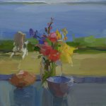 Christine Lafuente, Wildflowers and Cantaloupe Wedge by the Sea, 2015, oil on linen, 16 x 16 inches