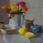 Christine Lafuente, Zinnias, Lemon, and Fig Jam, 2014, oil on linen, 12 x 16 inches