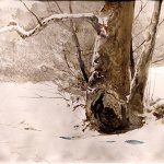 Andrew Wyeth, Possum Hollow, 1984, watercolor, 15 x 22 inches