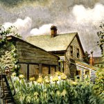 Charles Burchfield, August Morn, 1933-49, watercolor, charcoal and pencil on pieced paper laid on board, 25 x 34 inches