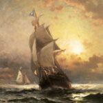 Edward Moran, Homeward Bound, oil on panel, 20 x 16 inches