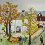 Grandma Moses, Thanksgiving, 1956, oil on pressed wood, 16 x 24 inches