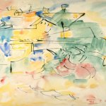 Hans Hofmann, Untitled Sketch, 1943, ink and watercolor on paper, 17 3/4 x 24 inches