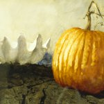 Jamie Wyeth, Pumpkin and Shell, 1989, mixed media on paper, 21 1/2 x 30 inches