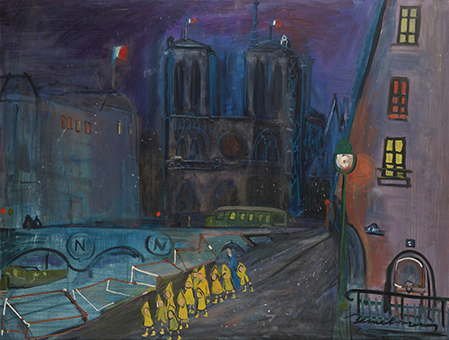 Ludwig Bemelmans, Notre Dame at Night, oil on canvas, 35 x 45 inches