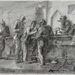 Reginald Marsh, Strokeys Bar, 1944, pen and ink and wash on paper, 21 1/2 x 30 inches
