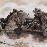 Thomas Hart Benton (1889-1975), Buffalo River, 1965, egg tempera, 10 1/2 x 14 1/2 inches