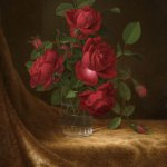 Martin Johnson Heade (1819-1904), Four Roses in a Glass, c. 1883-1900, oil on canvas, 22 x 14 inches