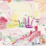 Hans Hofmann (1880-1966), Untitled, 1942, crayon on paper, 14 x 17 inches