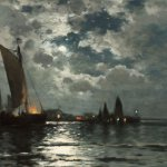 Edward Moran (1829-1901), Ships in Moonlight, oil on canvas, 12 x 24 inches