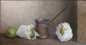 Judith Pond Kudlow, Pears and Paper, oil on board, 10 x 18 inches