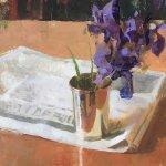 Jon Redmond, Irises Revisited, 2017, Oil on board, 10 x 10 inches