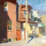 Jon Redmond, Newkirk Street, 2017, Oil on board, 14 x 14 inches