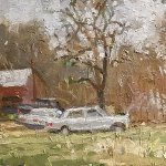Michael Doyle, Barn, Truck, Mercedes, Tractor, 2018, Oil on board, 14 3/4 x 5 3/4 inches