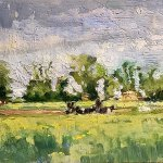 Michael Doyle, Cows Meadow, 2018, Oil on board, 6 x 11 3/8 inches