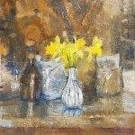 Michael Doyle, Daffodils, 2018, Oil on board, 5 x 7 3/4 inches