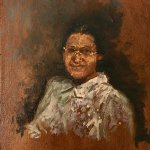 Michael Doyle, Miss Rosa Parks, 2018, Oil on board, 6 1/2 x 4 3/4 inches