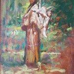 Michael Doyle, Sacagawea, 2018, Oil on board, 6 1/2 x 4 3/4 inches