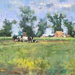Michael Doyle, Summer Holsteins, 2018, Oil on panel, 11 1/2 x 23 1/2 inches