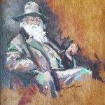 Michael Doyle, Walt Whitman, 2018, Oil on board, 6 1/2 x 4 3/4 inches