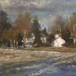 Michael Doyle, Winter Winds, oil on Masonite, 5 3/4 x 15 inches