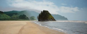 Peter Sculthorpe, Proposal Rock to Cascade Head, 2016, Oil on linen, 24 x 60 inches