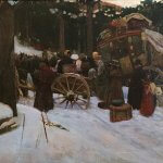 Stanley Arthurs (1877-1950), Wayside passengers breakdown of colonial stagecoach transportation, 1812, Oil on canvas, 22 x 32 inches