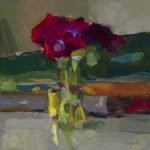 Christine Lafuente (b.1968), Anemones, Violin and Thread, 2019, Oil on linen, 10 x 10 inches