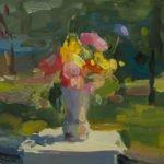 Christine Lafuente (b.1968), Wildflowers in the Sun, 2018, Oil on linen, 10 x 10 inches