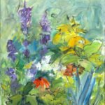 Mary Page Evans, Delphinium, 2019, Oil on linen, 30 x 24 inches