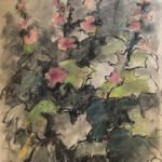 Mary Page Evans, Goodstay Hollyhocks, 2010, Mixed media on paper, 25 x 19 inches