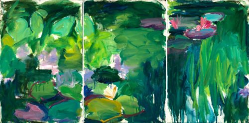 Mary Page Evans, Les Nympheas, 1987-1988, Oil on paper, 23 3/4 x 47 1/2 inches