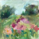 Mary Page Evans, Peony Field, 2017, Oil on canvas, 20 x 20 inches