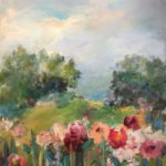 Mary Page Evans, Pivoines, 2015, Oil on canvas, 39 1/4 x 29 1/4 inches