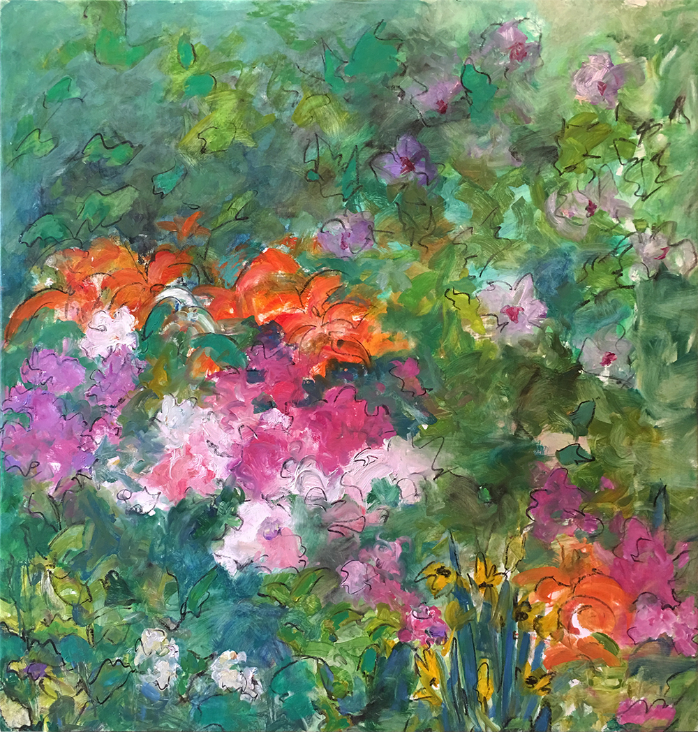 Mary Page Evans, Rose of Sharon, 2018, Oil on canvas, 43 x 41 1/2 inches