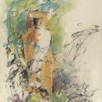 Mary Page Evans, Sculpture Garden, 2012, Oil on paper, 30 x 22 1/2 inches